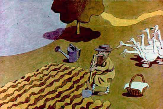 мужик копает огород а гуси смотрят