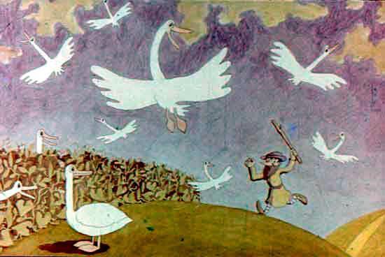 мужик разгоняет гусей