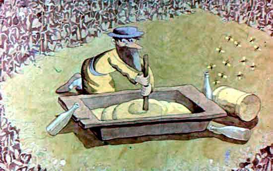 мужик делает кашу в корыте