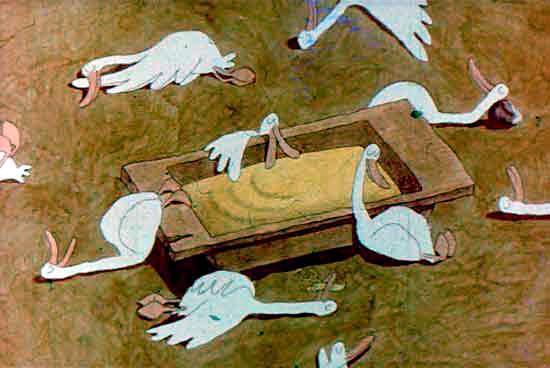 гуси наелись каши и уснули вокруг корыта