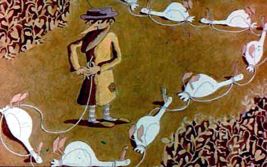 мужик связал гусей веревкой