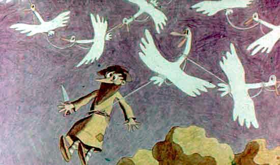 связанные гуси подняли мужика в небо