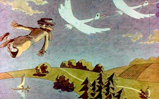 мужик и гуси летят над землей