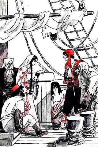 поднялись на палубу пленники старая старушка и молодая девушка
