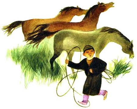 маленький мальчик с арканом и табун лошадей