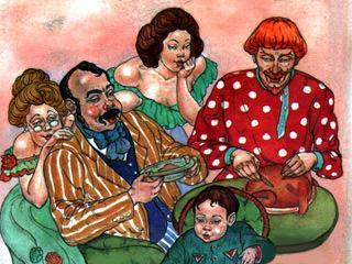 Пришёл мужик к барину, а у того за столом шестеро: сам с женой, два сына и две дочки.