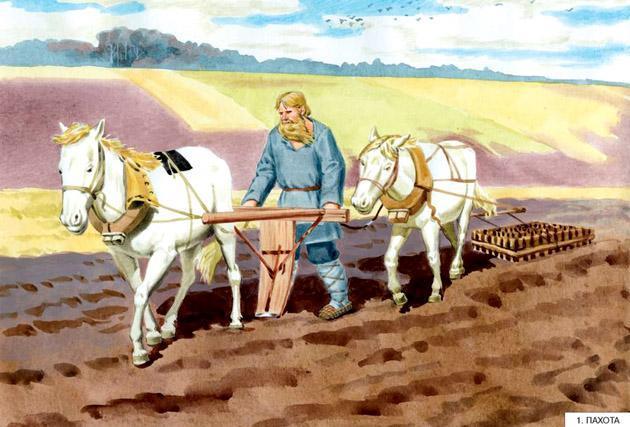 крестьянин пашет землю