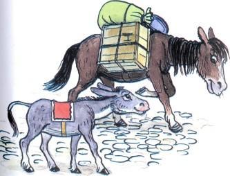 ослик осел и лошадь с грузом