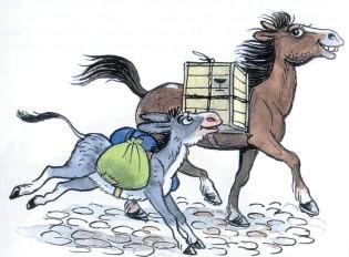 ослик осел и лошадь везут груз