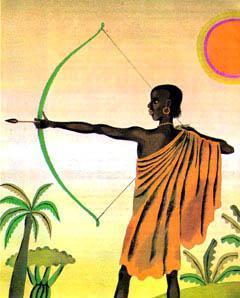 чернокожий лучник Сампа стреляет из лука