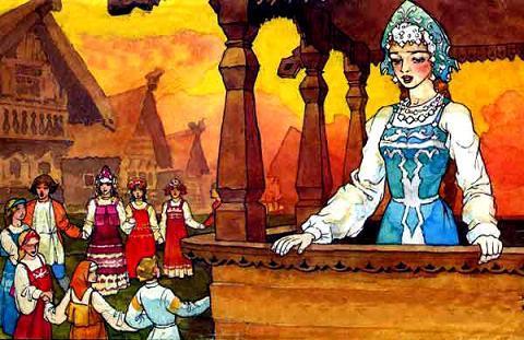 весела только красавица Марья Моревна - ждет не дождется своего ненаглядного Никитушку