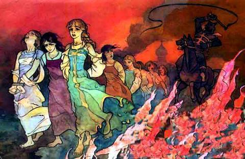 налетели на Посад черные слуги Кащея Бессмертного. Зажгли терема стрелами огненными, храмы разрушили, а молодых да пригожих девушек в полон угнали.