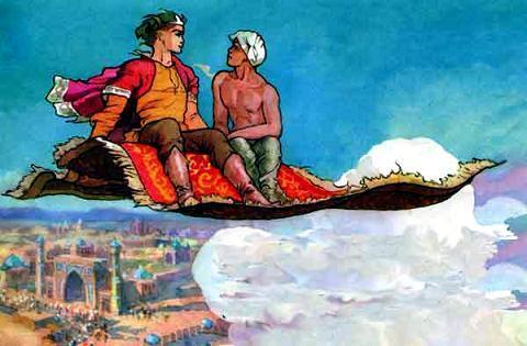 А когда ковер под облака поднялся, все увидели на нем Никиту-богатыря и свободного Булата-балагура. Летят они над городом, не землю любуются.