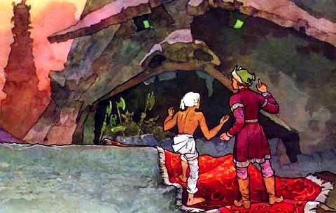 ковер-самолет опустился прямо у ворот замка Кащея Бессмертного