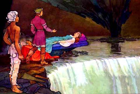 увидел Никита Марью Моревну, спящую на роскошном ложе, посреди зала.