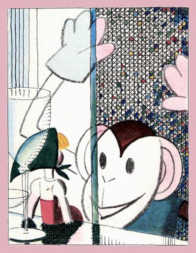 девочка Катя и обезьянка