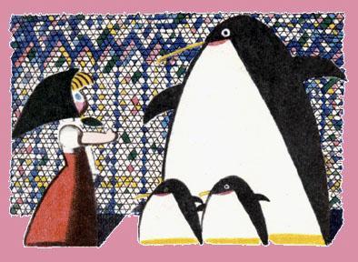 девочка Катя и пингвины