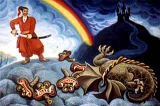 Казак Мамарыга Три головы змею и отрубил