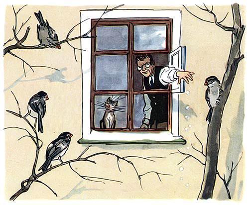 человек кормит птиц воробьев зимой из окна