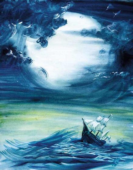 корабль в море в бурю в шторм