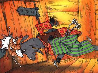 козел вышибает рогами дверь