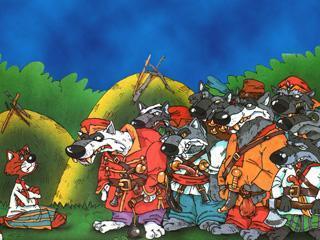 Кот, козел и баран семь волков серых, восьмой волк белый