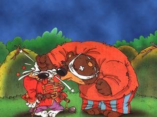Вот медведь крепился, крепился, и вдруг хвать лапой по волчьей морде