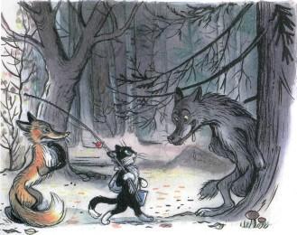 сказка Кот-рыболов кот и лиса встретили в лесу волка