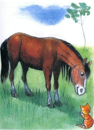 котенок и лошадь