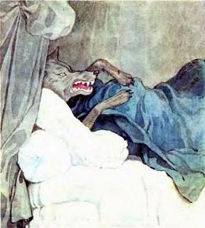 Волк улегся на бабушкину постель и стал поджидать Красную Шапочку