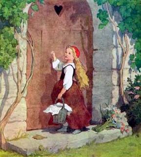 Красная шапочка пришла и постучалась в дверь бабушкиного дома