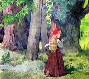 Красная шапочка шла с корзинкой по лесу навстречу ей волк