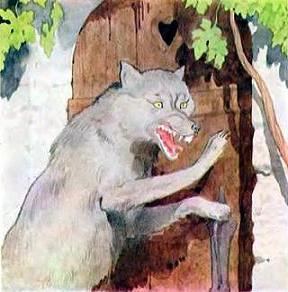 Волк уже прискакал к бабушкиному домику и стучится в дверь