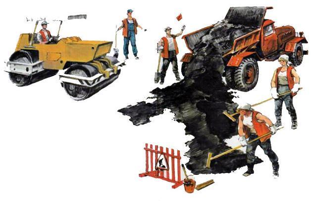 строители строят дорогу
