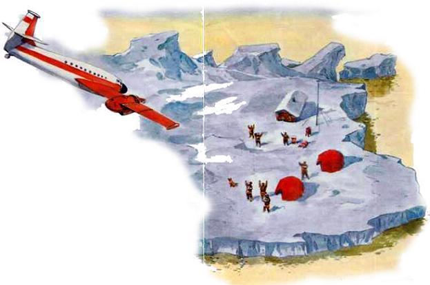 самолет над льдиной антарктикой
