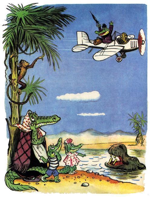 Крокодил семья крокодилов в африке отец на самолете дети