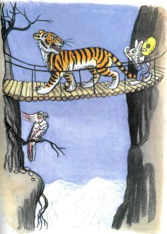 заяц в шляпе и тигр нед пропастью на подвесном мосту