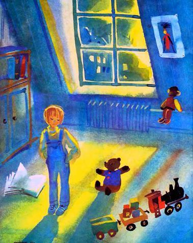 малыш в комнате с игрушками