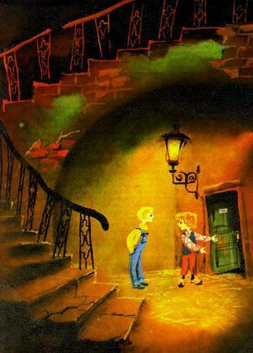 Ниссе и Бертиль у двери на лестнице