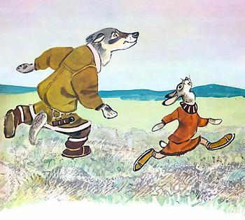 волк и заяц бегут на перегонки