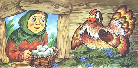 Баба, Прибежала в курятник с корзиною, А в корзине — яйца утиные, Не одно, а целый десяток.