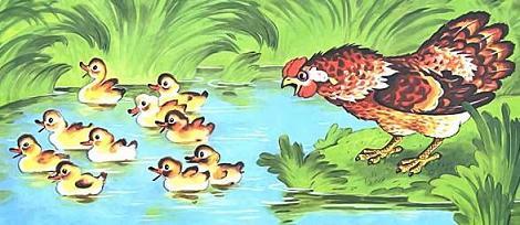 Курочка Ряба и десять утят плавают в озере
