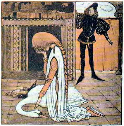 Выйдя из столовой, молодой хозяин увидел, как пришлая девушка стоит на коленях перед мёртвыми птицами и плачет