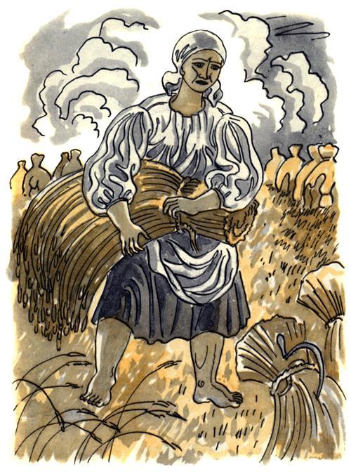 женщина собирает колосья