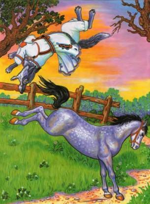 конь лягнул копытом волка