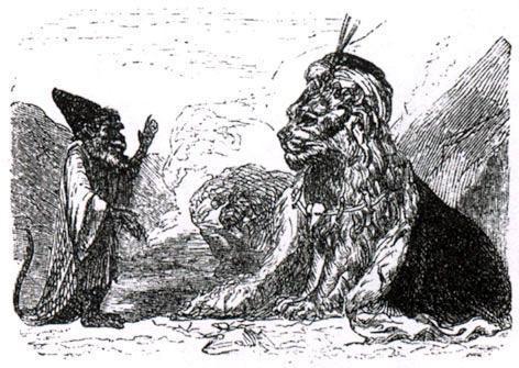 Лев, обезьяна и два осла