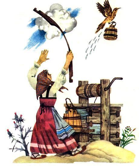 дрозд Полетел в село, принёс ей воды