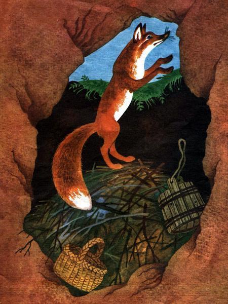 лисица выбралась по палкам из ямы