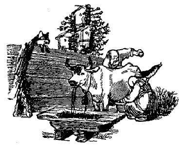 старик и старуха доят корову и дрозд
