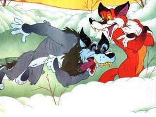 Лиса и волк с примерзшим в проруби хвостом